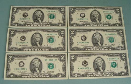 (6) 2003 A $2 Bills Consecutive # Notes G Mint Chicago
