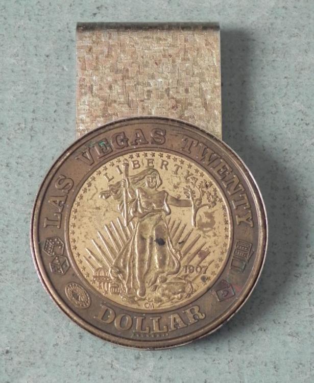 Old Gold Las Vegas 1907 Money Clip Repro $20 Coin