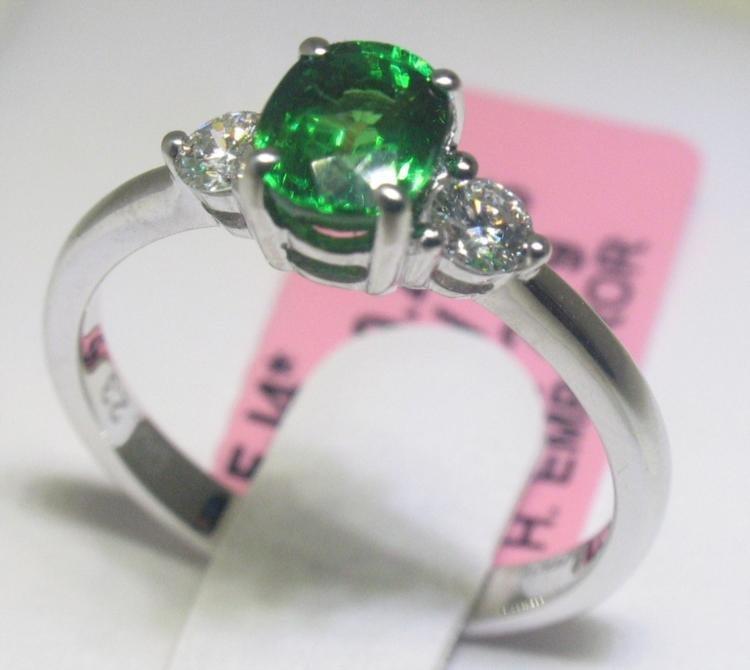 1.05 Carat Tsavorite and .24 Carat Diamonds 18K WG Ring