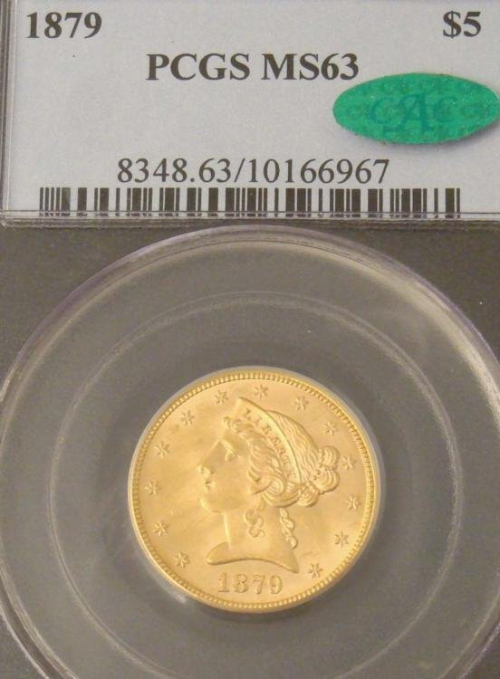 1879 Gold $5 Coin PCGS MS 63