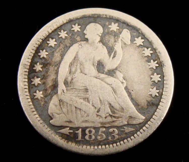 1853-O Seated Half Dime With Arrows, Hi-Grade