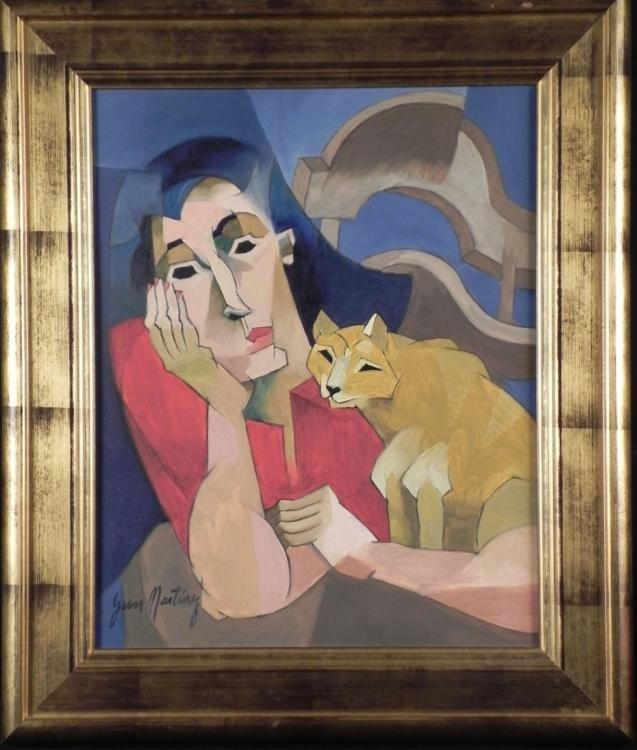 Yani Martinez Original Cubist Painting Lady & Cat Framd