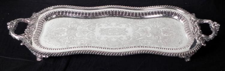 Wide Silver Plated Serving Platter w/Pierced Decoration