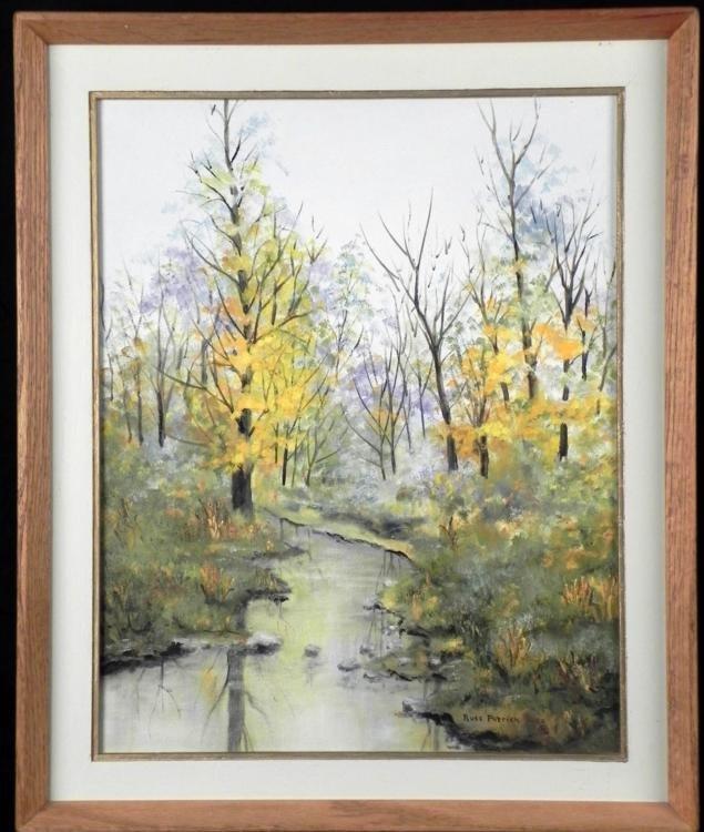 Russ Patrick Original Painting Autumn Stream Frmd 1986