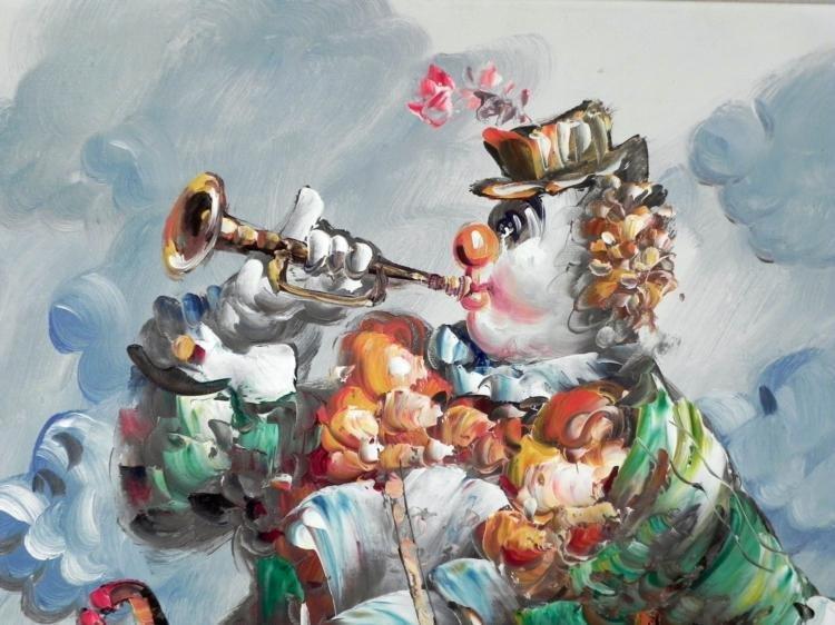 Morgan Original Painting Clown Musician -Framed - 2