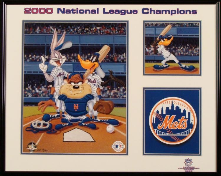 Looney Tunes Lithgraph Framed Taz Daffy Bugs NY Mets LE