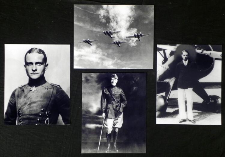 4 Photos Aviation - Baron, Hughes, B-12 Bomber, Rommel