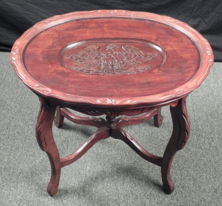 American Eagle Carved Oval Wood Table W/ Glass Top