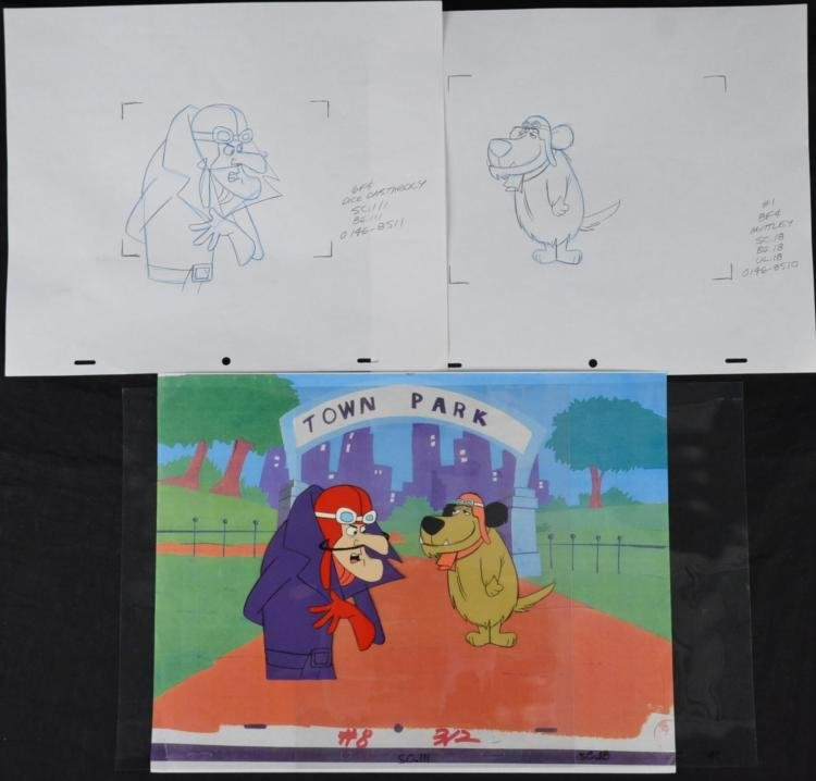 Dastardly & Muttley Orig Production Cel & Drawing Set 4