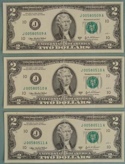(3) 2003 A Consec # $2 Two Dollar Bills J Mint KC MO