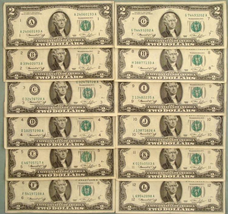 Complete Set 12 All Mint Marks 1976 $2 Bills Notes UNC