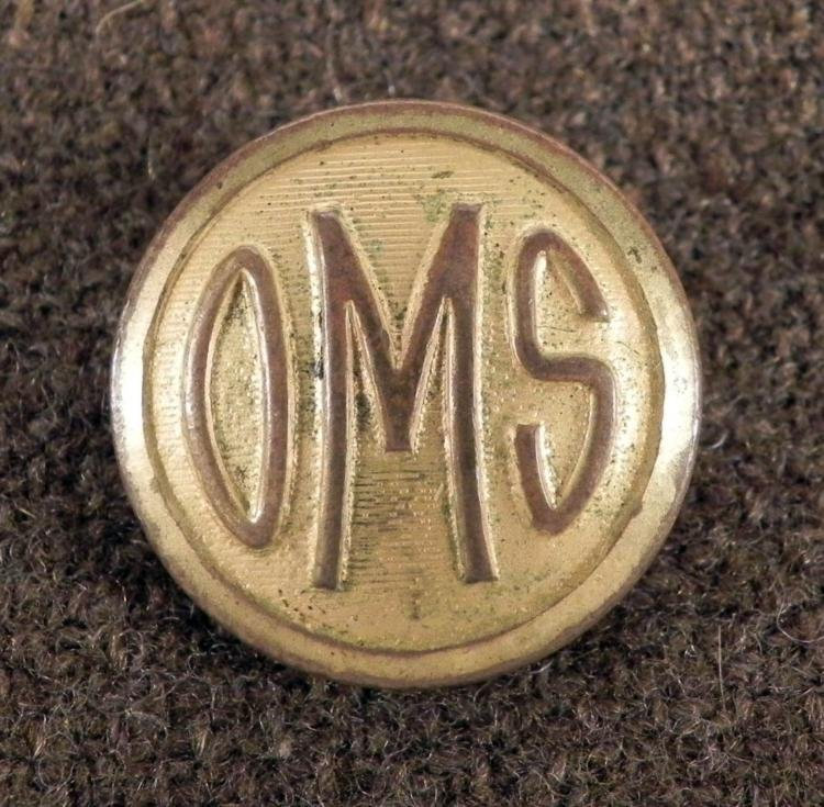 OMS Onarga Military School Illinois Coat Button 1919