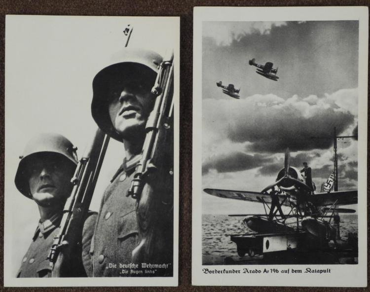 2 ORIG NAZI POSTCARDS--WEHRMACHT SOLDIERS W/M16 HELMETS