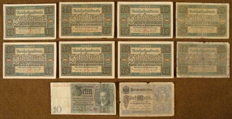 10 PRE-NAZI 1920'S GERMAN BANK NOTES