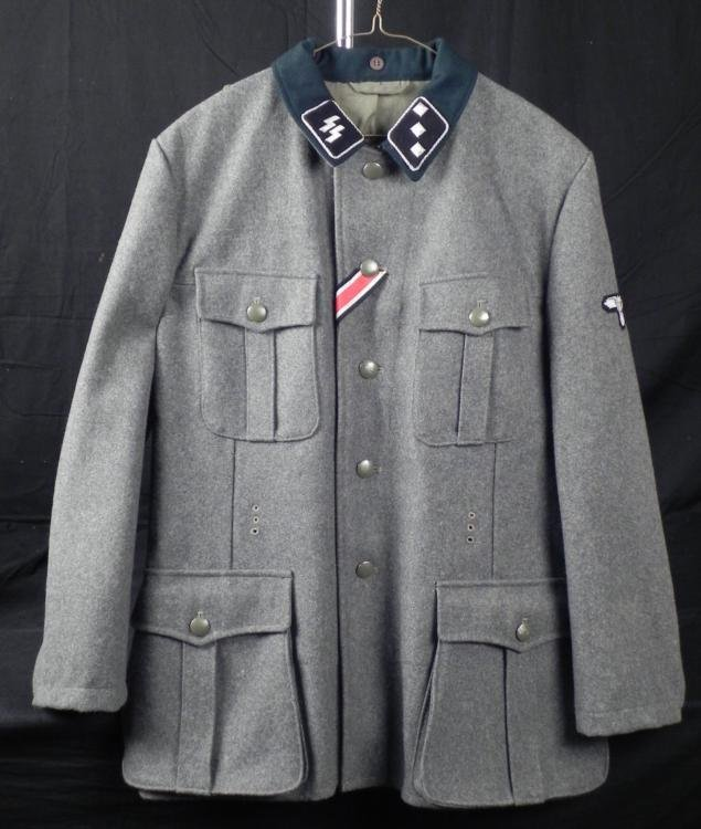 WWII NAZI SS OFFICER'S FIELD TUNIC GRAY SS -PERIOD ORIG