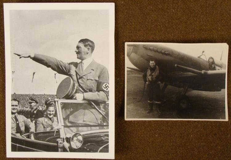 2 PHOTOS OF HITLER IN UNIFORM W/HESS, SS STAMP -1944
