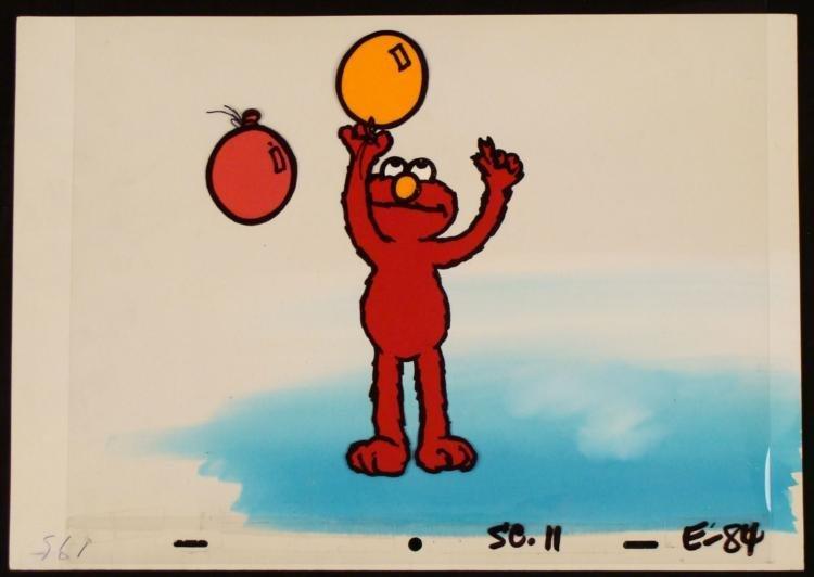 Production Cel Original Elmo Background Balloons Playin