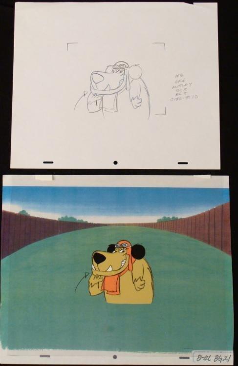 Orig Muttley Cel Animation Background Drawing Wacky Art