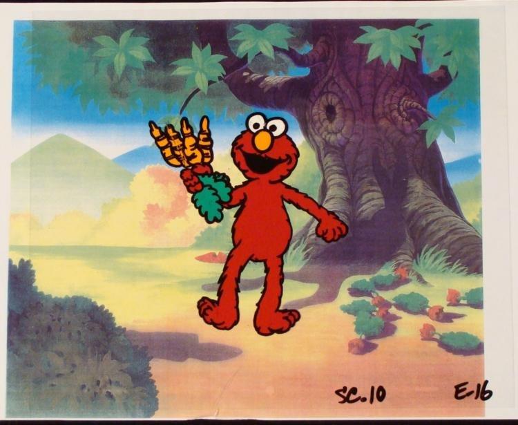 Background Animation Cel Orig Elmo Carrots Hand Art