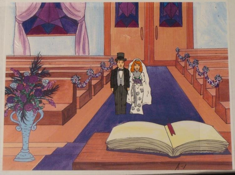 Production Cel Orig Bride And Groom Married Background