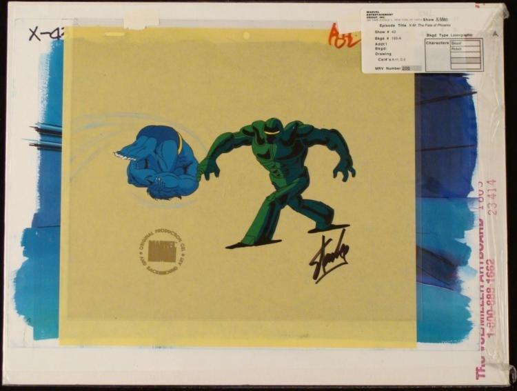 Signed Orig Stan Lee Bkgd Animation X-Men Robot Art Cel