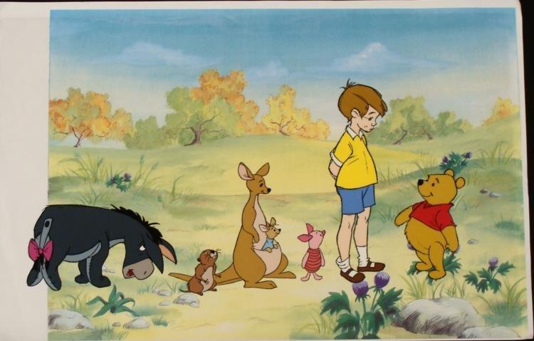 Original Winnie The Pooh Cel Background Animation Gang