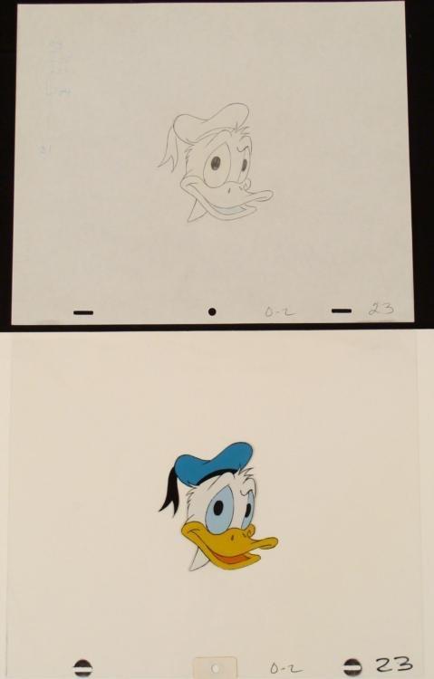 Face Original Animation Donald Duck Cel Drawing Art