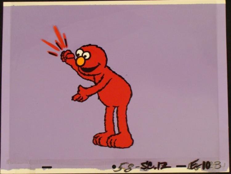 Production Cel Original Elmo Background Arm Up Red