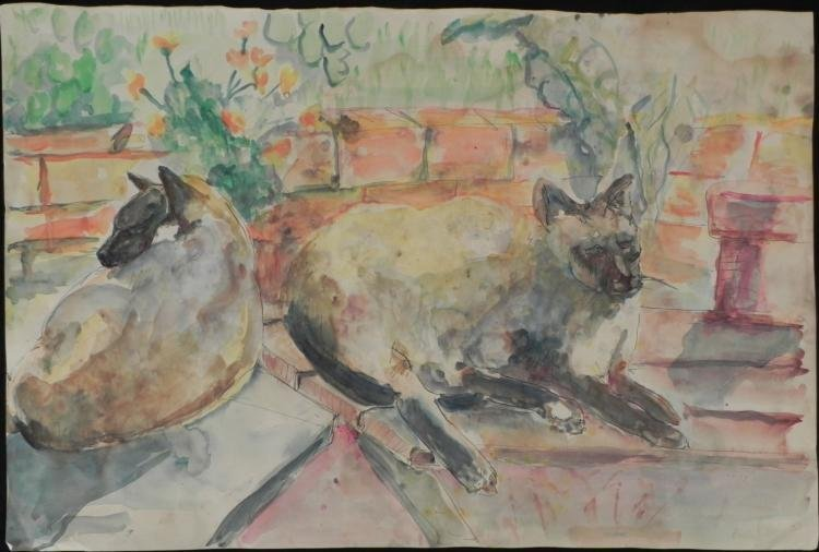Betty Snyder Rees Original Painting 2 Siamese Cats