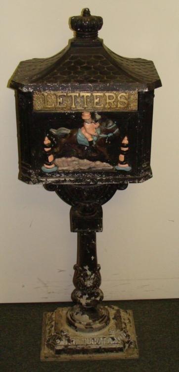 Vintage Pedestal Letter Mail Box Hand Painted Metal