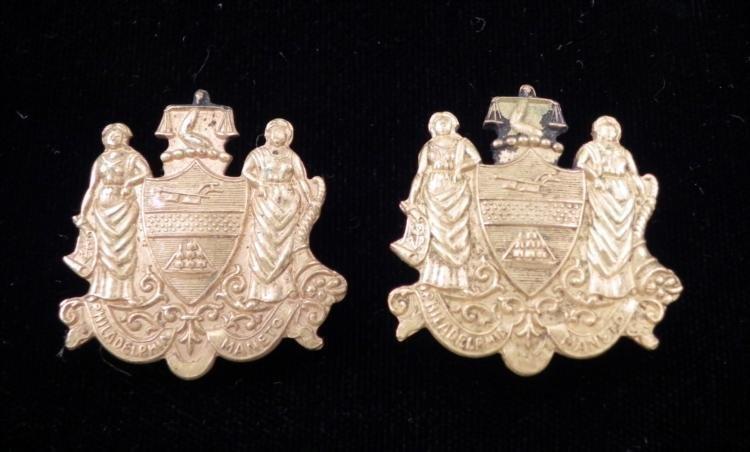 2 Philadelphia Maneto Vintage City Badges -Police, Fire