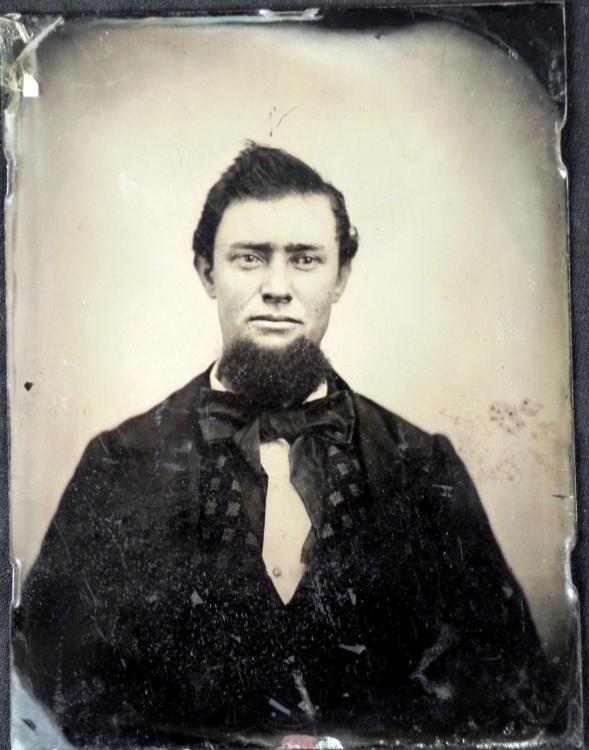 Large Tintype Photograph Portrait Bearded Man 4 x 5