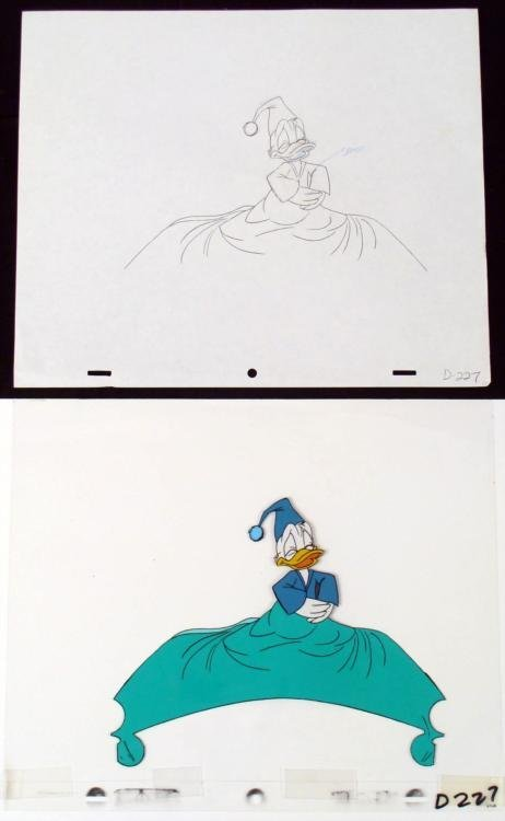 Stomach Hold Donald Duck Cel Drawing Orig Animation Art
