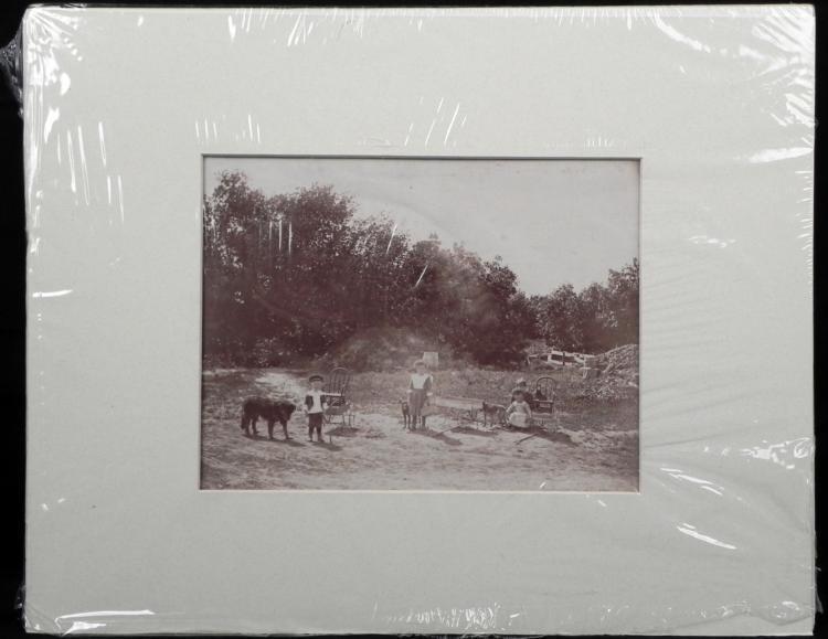 Large Antique Albumen Photograph Children Playing -1890