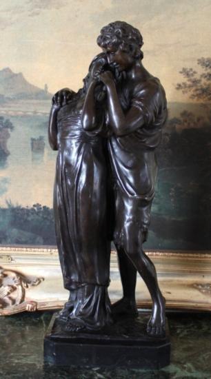 DDSM163 Beautiful Lovers Bronze Sculpture 21 H x 8 W x