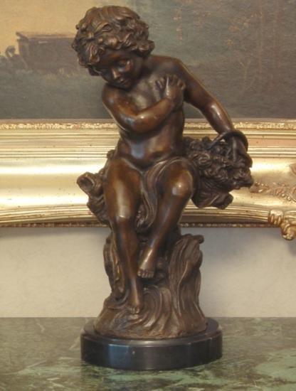 DDSM020 Cupid Cherub Bronze Sculpture 14 H x 8 W x 6 D