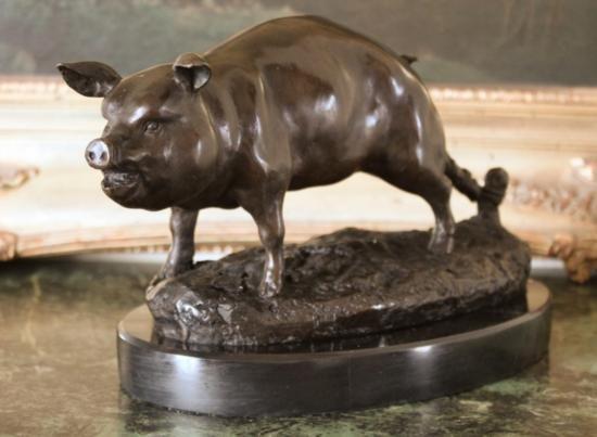 DDSM005 Cute Pot Belly Pig Bronze Sculpture 7 h x 11 L
