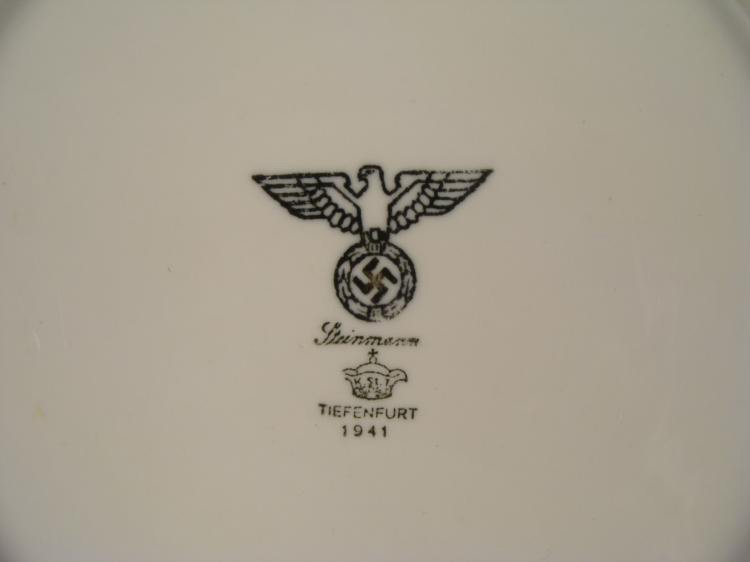 "ORIGINAL 1941 9"" NAZI DINNER PLATE FROM A DINING HALL"