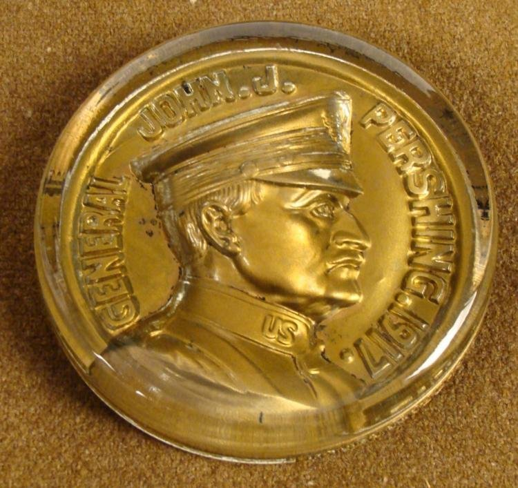 "4"" GLASS GENERAL JOHN J. PERSHING 1917 MEDALLION"