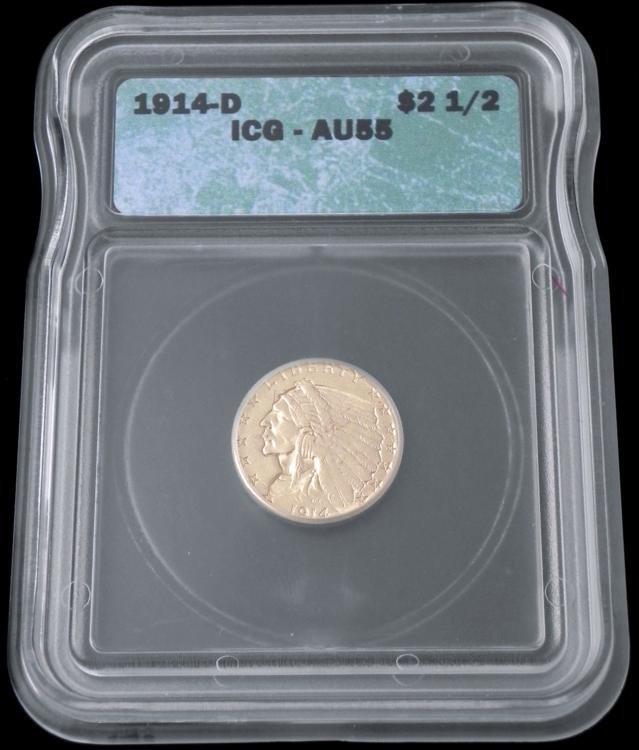 1914-D ICG AU55 Gold Indian Head Quarter Eagle $2.50