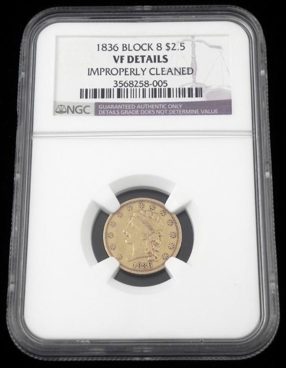 1836 NGC Block 8 Gold Classic Head Quarter Eagle $2.50