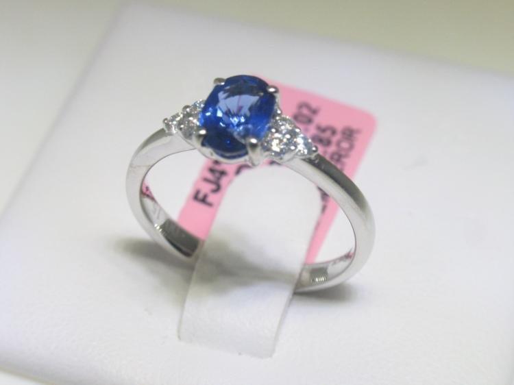 1.02 CT Blue Sapphire and .15 CT Diamonds 18K WG Ring