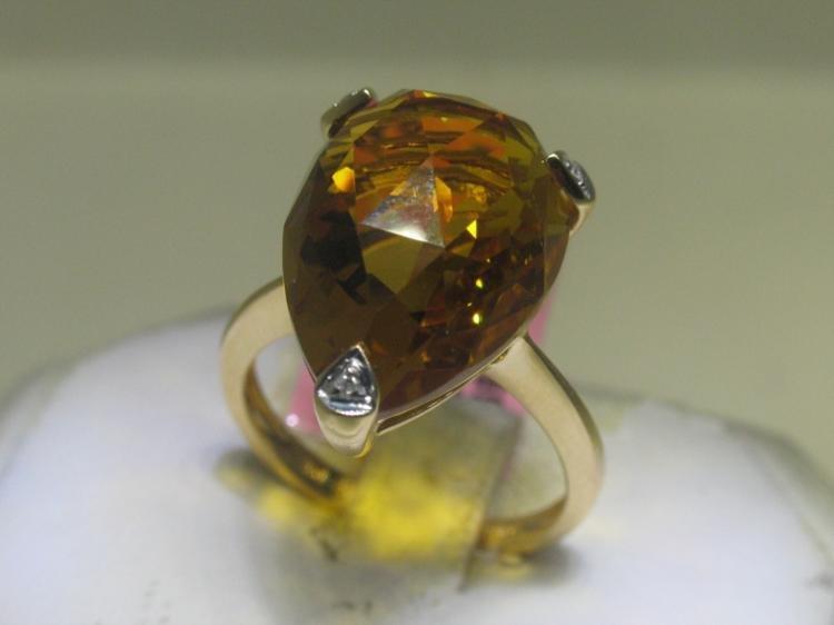 12.15 CT Citrine and .02 CT Diamonds 14K YG Ring
