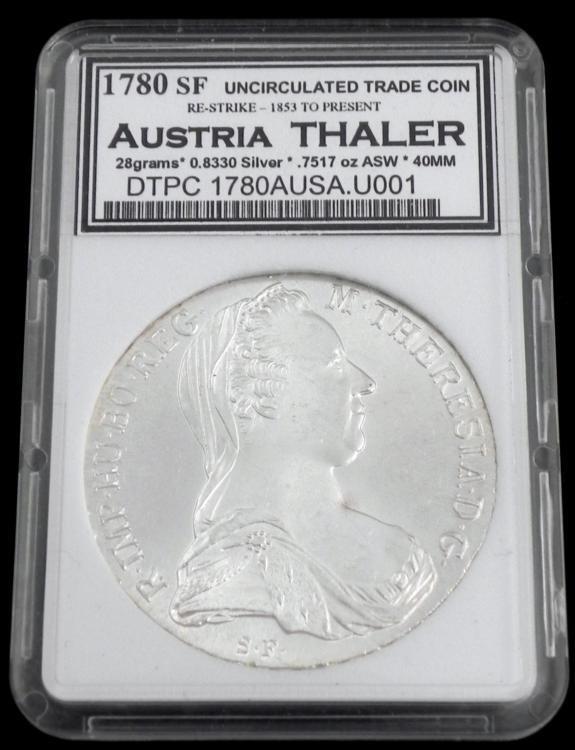 1780 Maria Theresia Austria Thaler Graded UNC Coin