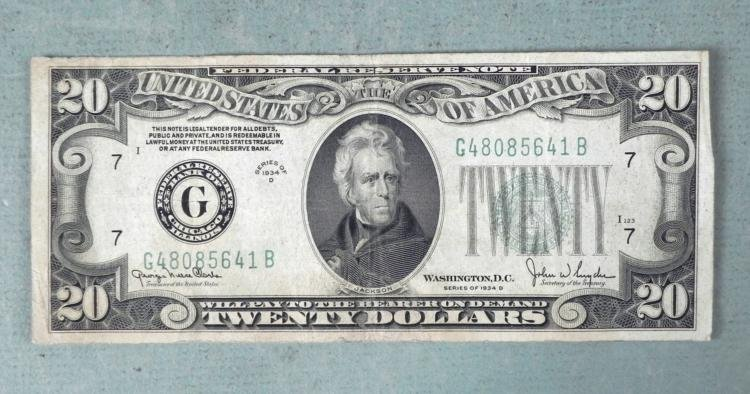 1934D Twenty Dollar Bill Large Green Seal