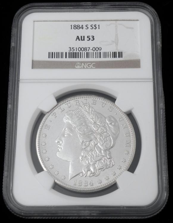 1884-S Morgan Silver Dollar NGC AU 53 Coin