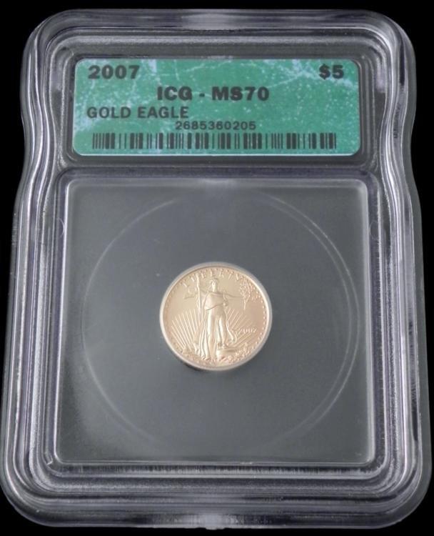 2007 ICG MS70 $5 American Gold Eagle