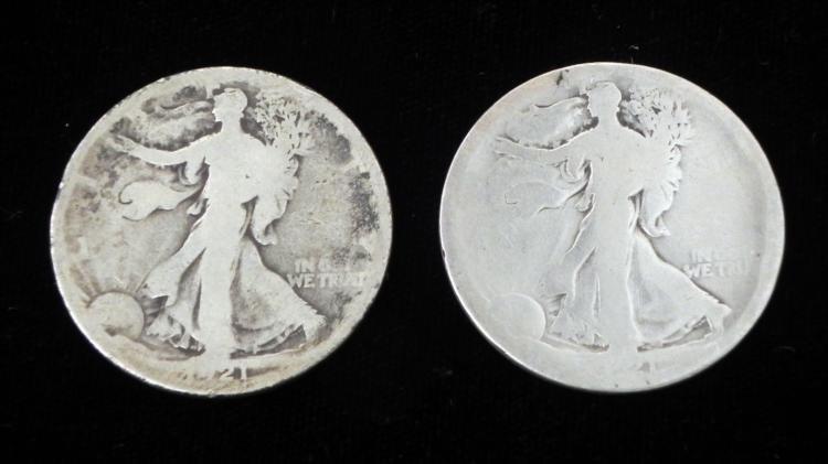 1921-P 1921-D Silver Walking Liberty Half Dollar Coins