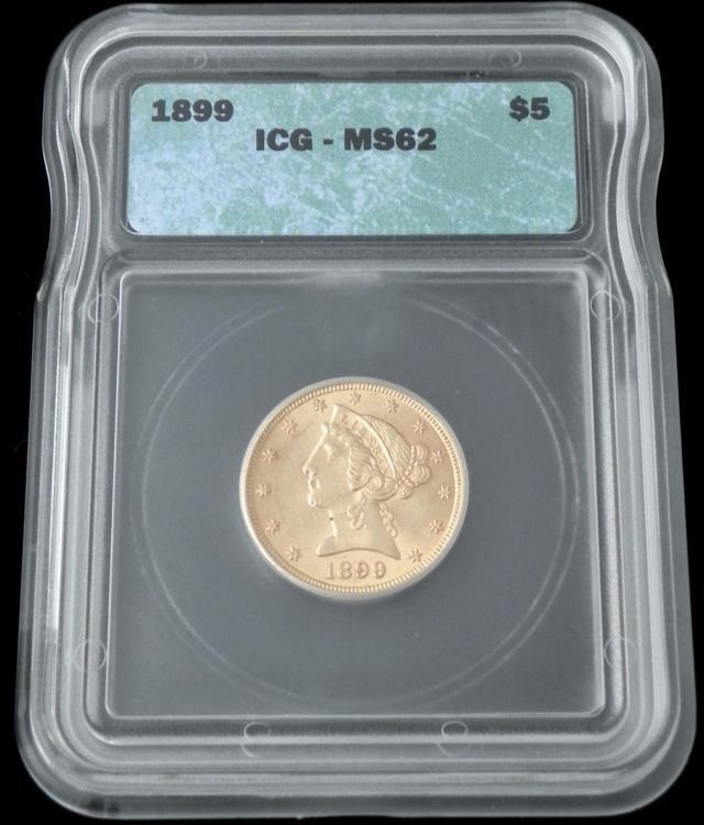 1899 ICG MS62 $5 Gold Liberty Head Half Eagle