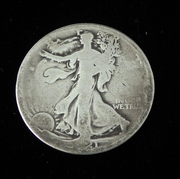 Key Date 1921-D Silver Walking Liberty Half Dollar Coin